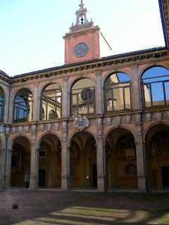 The courtyard of the Archiginnasio, part of Bologna's historic university
