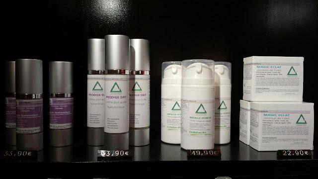 Les 4 produits de la gamme visage proposé par le Studio 54, acide hyaluronique et mucus d'escargot !