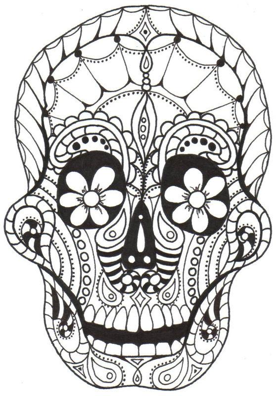 day of the dead skull coloring page - kay larch studios dia de los muertos coloring books