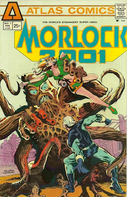 Atlas Comics, Morlock #1, our hero looks on as a woman is attacked by a giant killer tree