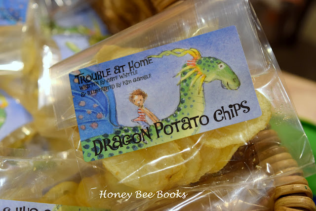 Dragon potato chips, at the launch of Cate Whittle's book, Trouble At Home