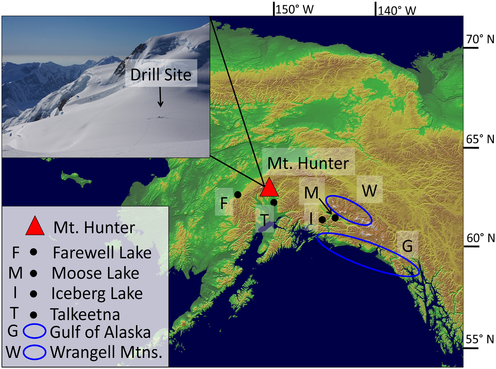 location of the mt hunter ice core red triangle in the alaska range alaska black circles indicate the locations of other temperature records discussed