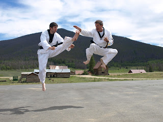 Two martial arts black belt master instructors performing techniques