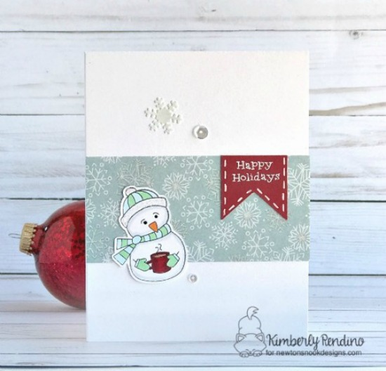 Happy Holidays Snowman card by Kimberly Rendino | Frozen Friends stamp set by Newton's Nook Designs #newtonsnook