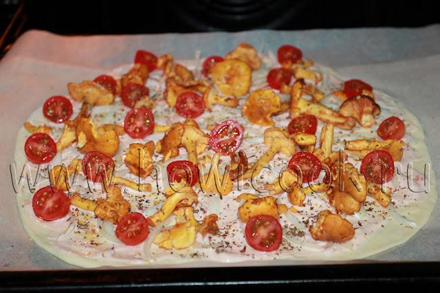 рецепт пиццы с лисичками и черри с пошаговыми фото