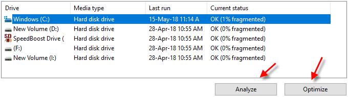Disk defragment utility on Windows