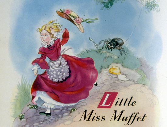 Painting of Little Miss Muffet from the former North Mymms Local History Society archive