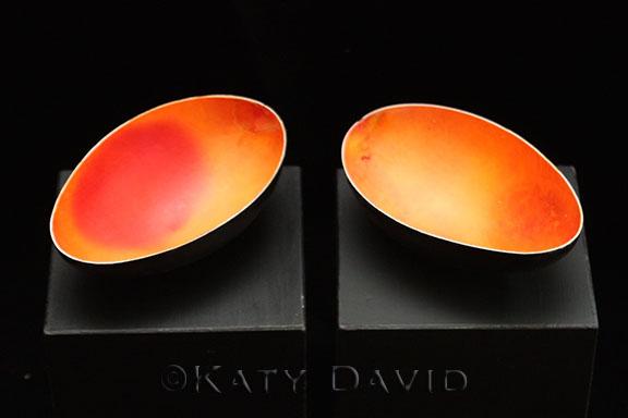 """""""Mango I"""" and """"Mango II"""" ©Katy David 2016 Goose eggshell, aniline dye, acrylic paint, varnish"""
