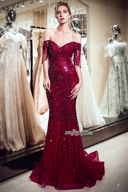 Vintage Burgundy Mermaid Evening Gowns | 2019 Sequins Long Prom Dress With Tassels