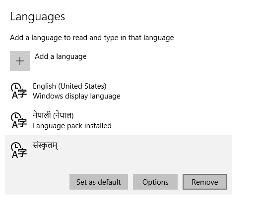 language pack windows 10