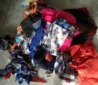 Fleece fabric pieces for patchwork blanket Craftrebella