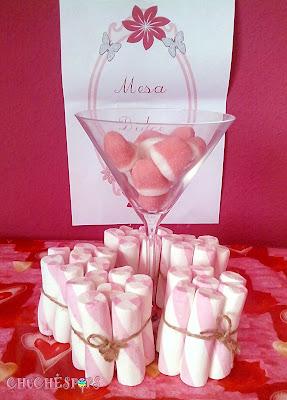 paquetes de nubes nata y fresa y copa cristas besitos fresa boda
