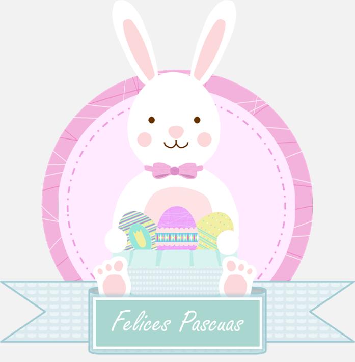 conejo de Pascua con cartel