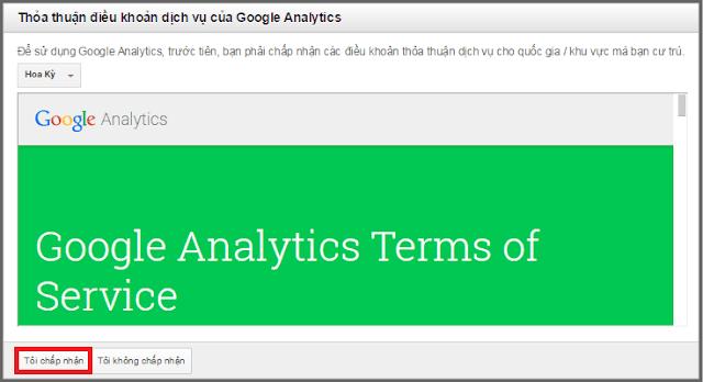 Chấp nhận điều khoản Goolge phân tích