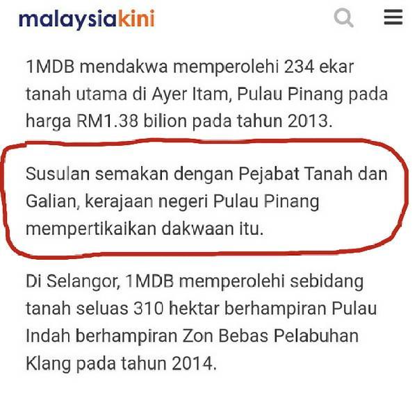 1MDB Jual Tanah Di Selangor Dan Pulau Pinang Untuk Bayar Hutang? Kerajaan Negeri Luluskan?
