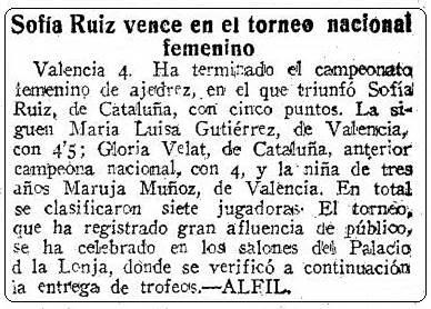 II Campeonato Femenino Individual de España, recorte de ABC del 5 de agosto de 1951