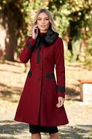 Palton visiniu StarShinerS best impulse elegant din lana cu insertii de broderie captusit pe interior