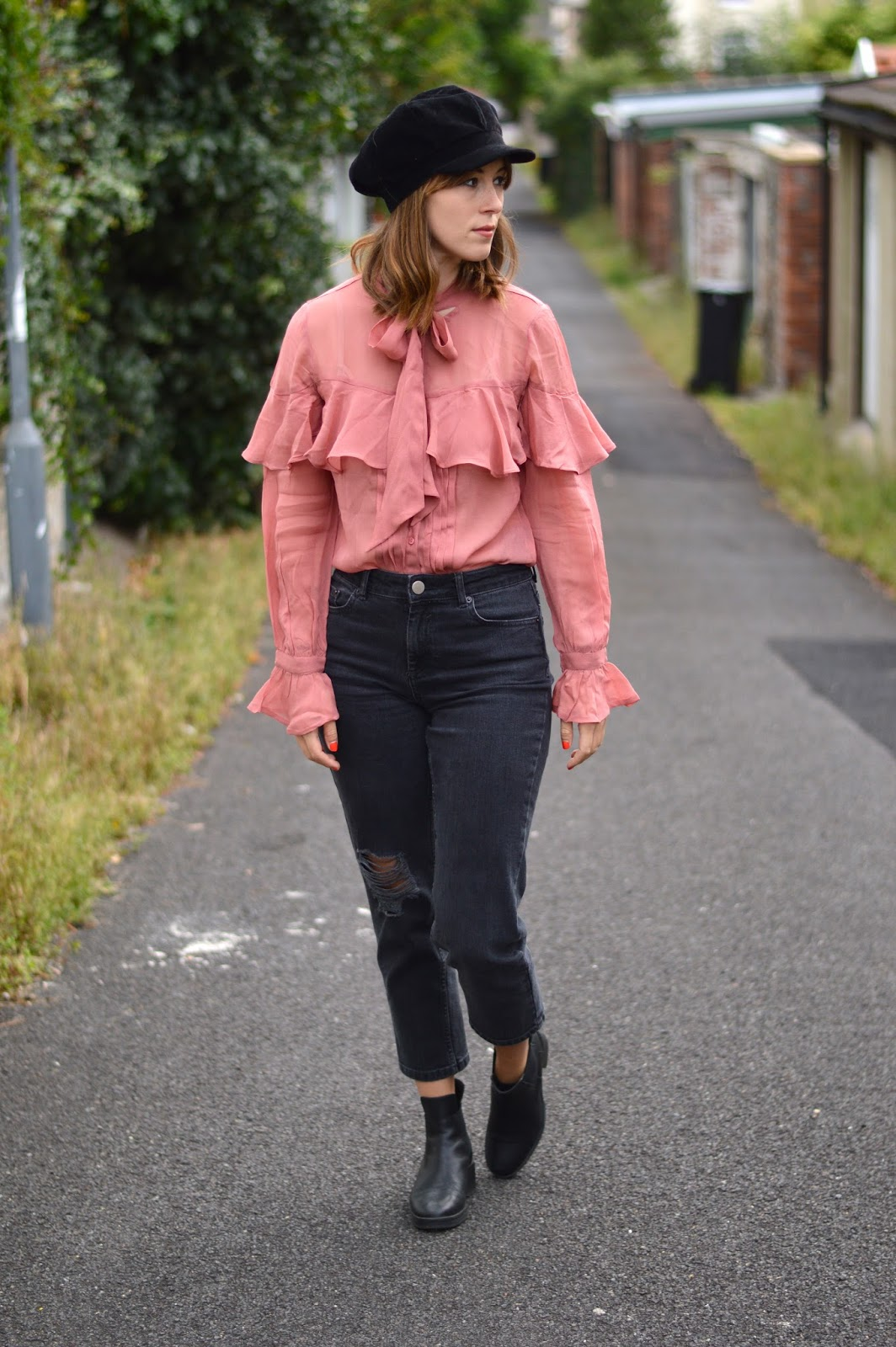 Dusty pink pussy bow ruffle blouse