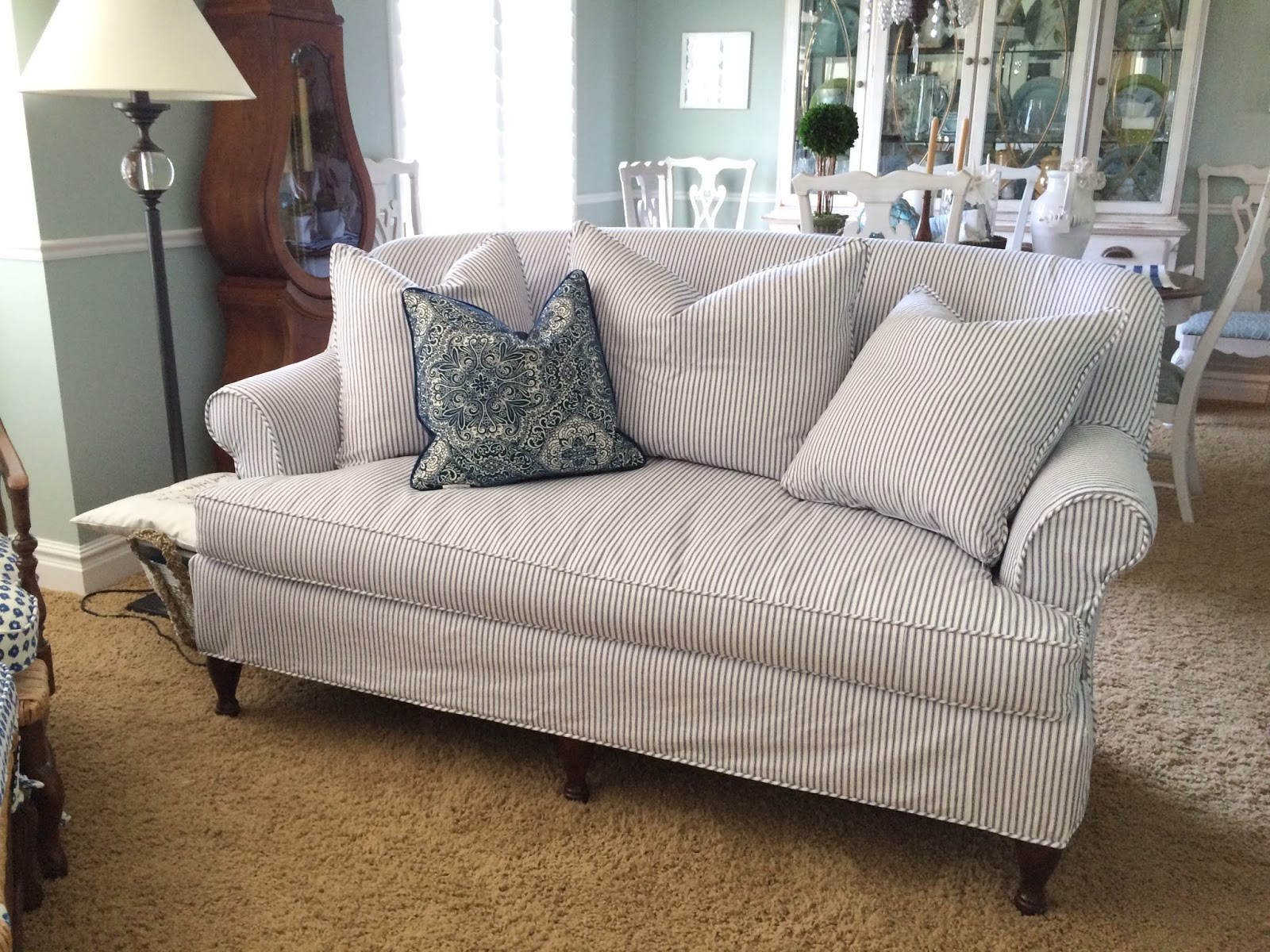 Elegant Blue White Striped Sofa Slipcovers Sofas