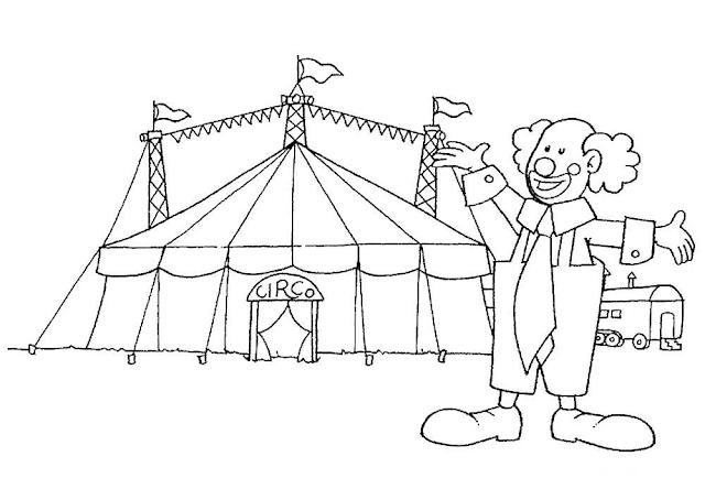 Gambar Mewarnai Circus Untuk Anak