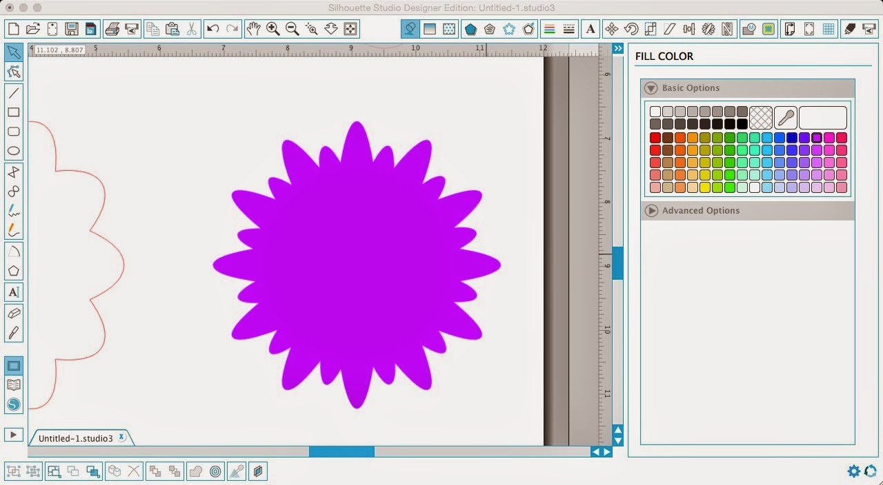 Silhouette Studio, Silhouette tutorial, designing, scalloped circle, flower