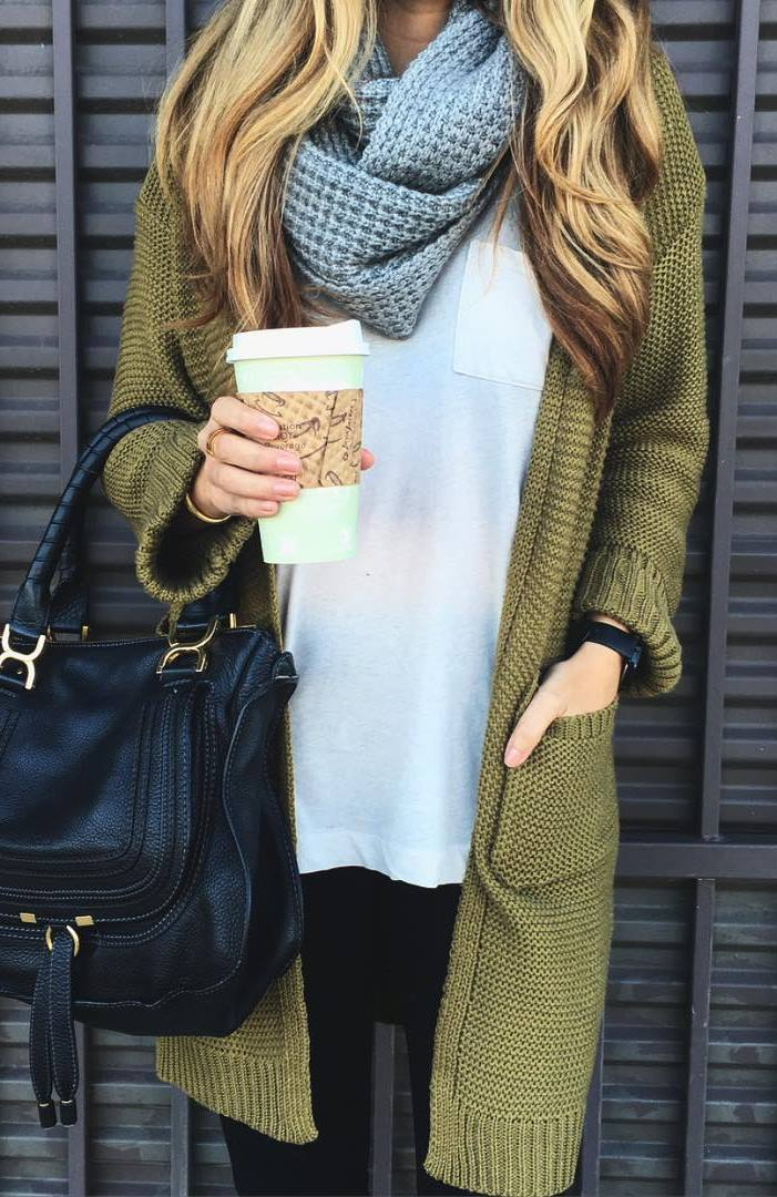 how to wear a cardigan : knit scarf + white top + bag + jeans