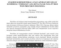 Contoh Artikel  Jurnal Tentang Analisis Koreksi Fiskal Atas Laporan Keuangan Komersial Terhadap Laba Kena Pajak