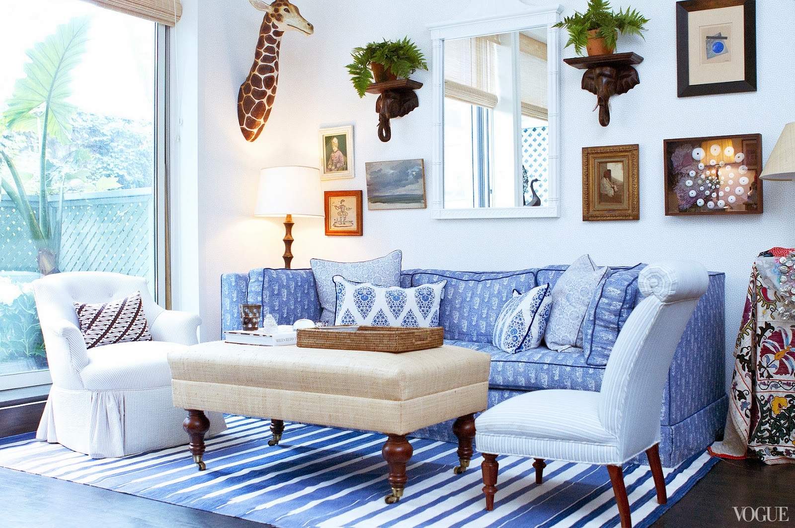 Blue And White Living Room Collectible Style In A One Bedroom Nyc Apartment Before