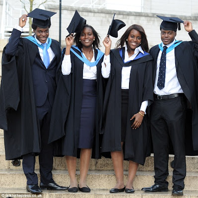 Nigerian quadruplets celebrate UK first as all simultaneously graduate with Masters degrees from same university. 1