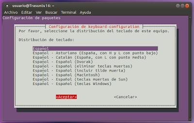 Configuración de teclado Español