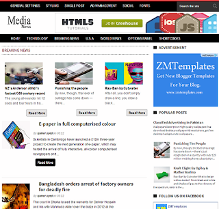 Media News Blogger Template