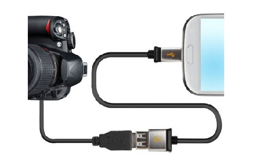 Image result for otg cable connected to DSLR Camera
