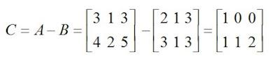 subtração da matriz a e b  exemplo a2