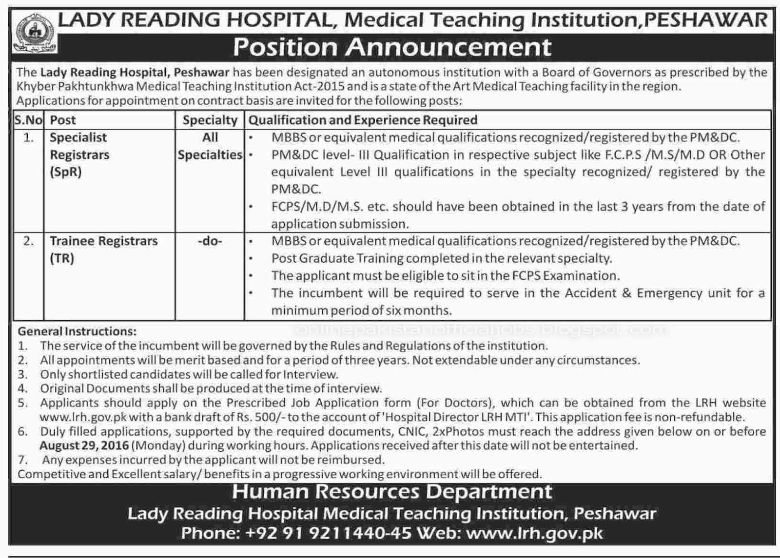 Lady Reading Hospital Peshawar jobs 2016