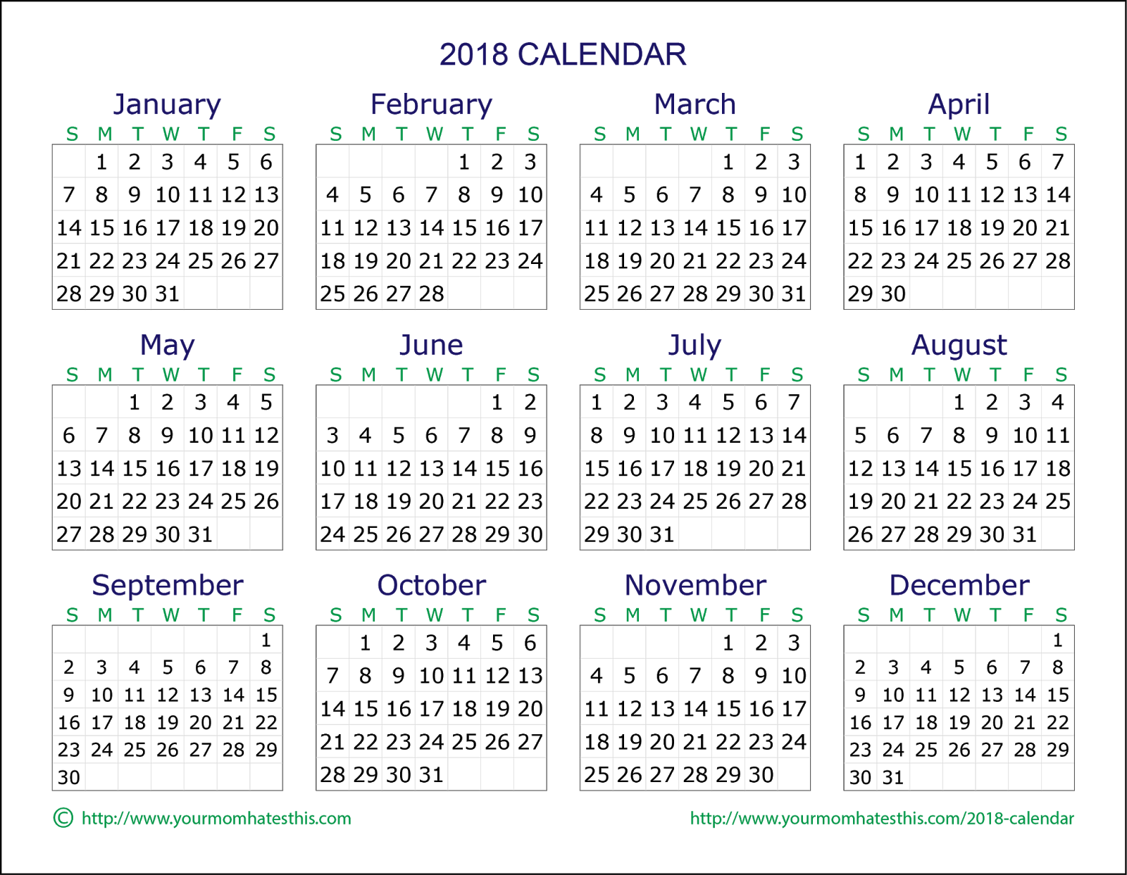 2018 calendar  u2013 download quality calendars