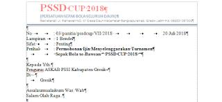 Contoh Surat Permohonan Ijin Menyelenggarakan Turnamen Sepak Bola se-Bawean