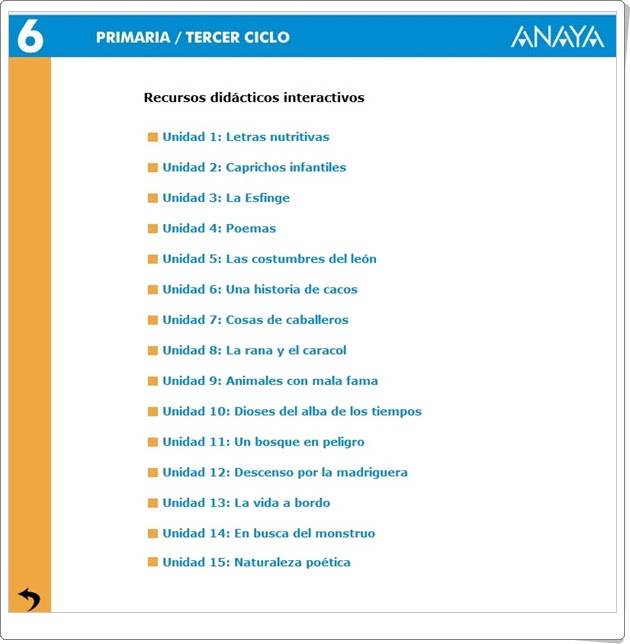 Recursos Didácticos Interactivos Anaya. Lengua Española de 6º de Primaria (Abre la puerta)