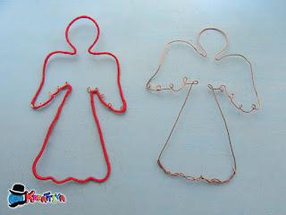 ricoprire angelo di filo di ferro con filo di cotone