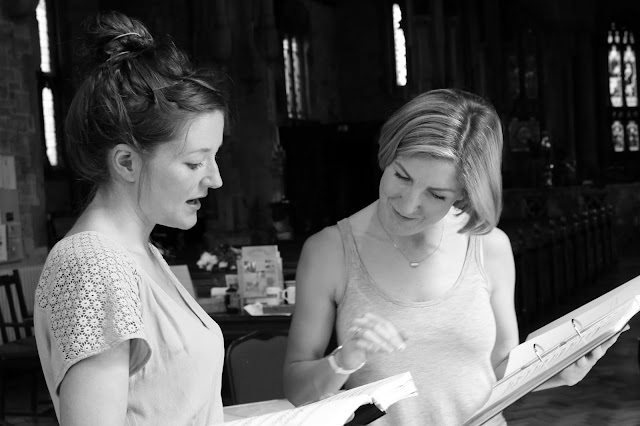 In rehearsal for Mozart's The Garden of Disguises at the Ryedale Festival: Alice Privett (Sandrina), Nina Brazier (director)