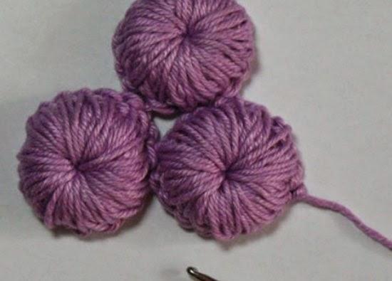 botones, adornos en relieve, crochet