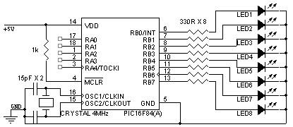 Charitha's Blog: Knight Rider Circuit using PIC16F84A