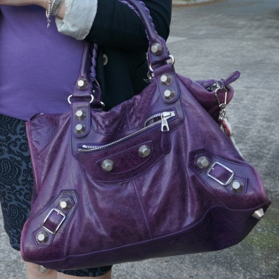 purple raisin 2009 balenciaga work bag giant silver GSH hardware bag | purple tee with statement necklace jacquard pencil skirt jersey blazer and Bal work | awayfromtheblue