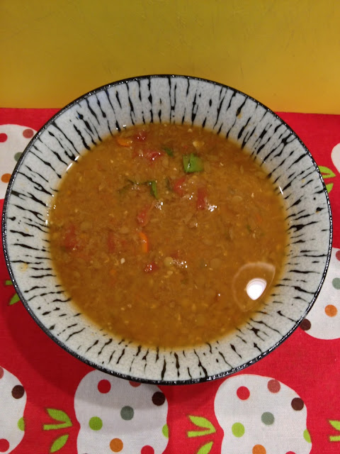 bowl of vegan Mexican lentil soup