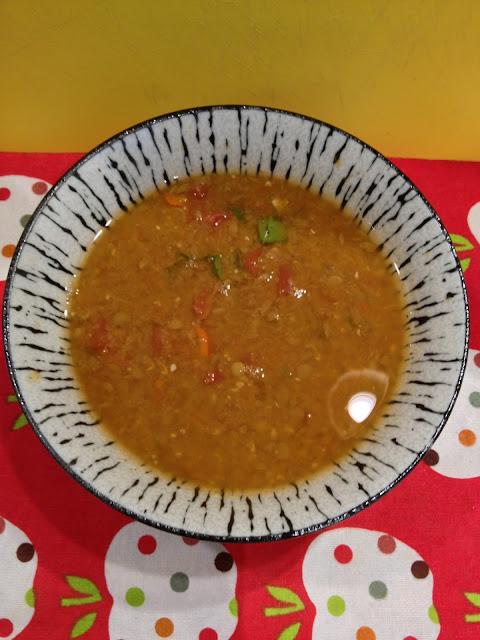 bowl of vegan Mexican lentil soup