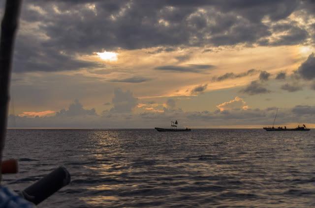 Fishing Boats Siwangang Harbor Dusk Near Siwangag Palaui Island