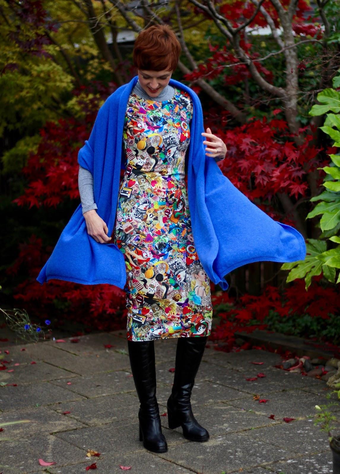 Blue Cashmere Wrap, Graphic Bodycon Dress, OTK Boots   Fake Fabulous