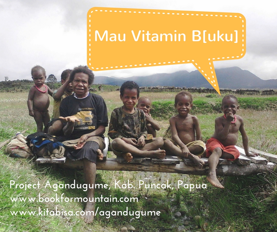 project perpustakaan komunitas book for mountain untuk anak-anak agandugume kabupaten puncak papua