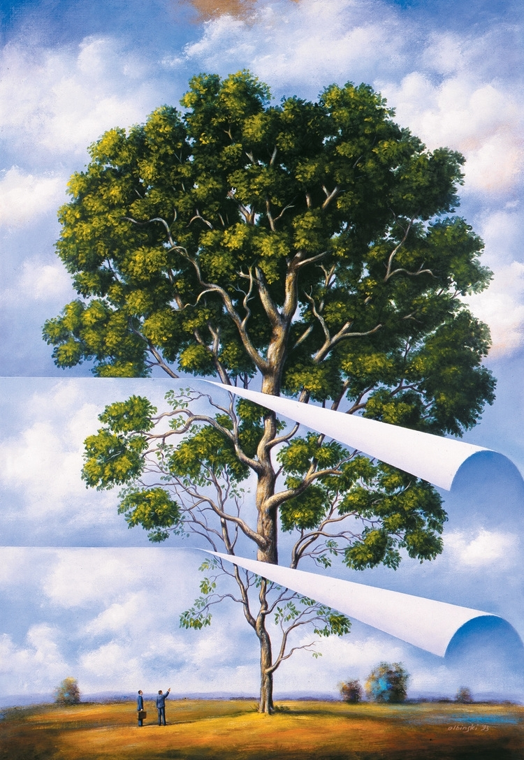 05-Stripped-Tree-Rafal-Olbinski-Surreal-Paintings-that-Whisper-a-Message-www-designstack-co