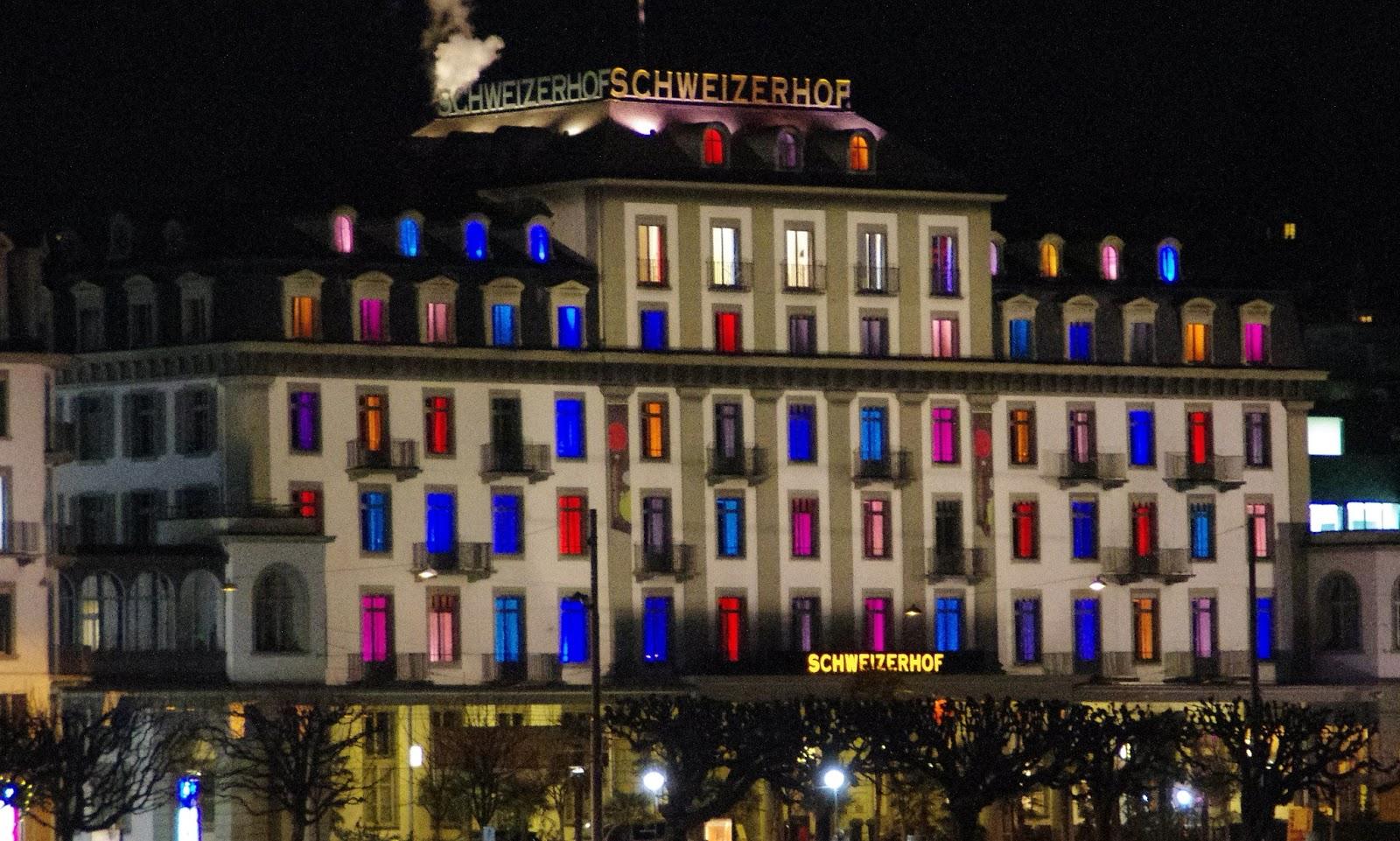 Hotel Schweizerhof Luzern Night Coloured Windows
