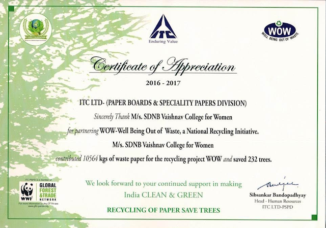 SDNB Vaishnav College saves 232 trees